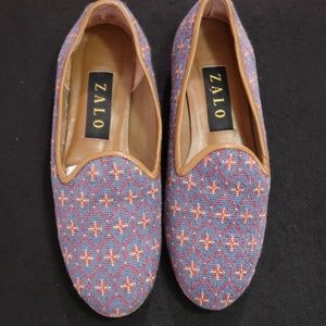 Zalo Vintage Needlepoint Embroidered Loafers 7